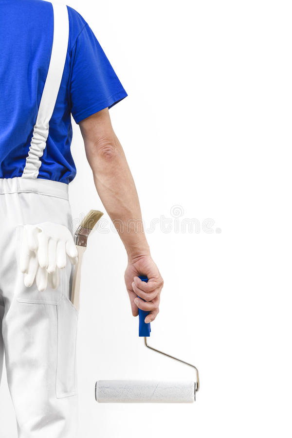 Painter man with paint roller stock image