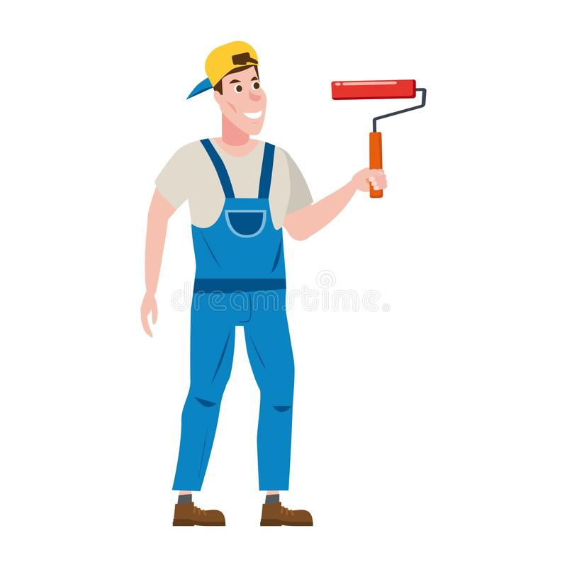 Painter man paints the wall is holding a paint roller in hand, profession, character, uniform, bucket. Vector vector illustration
