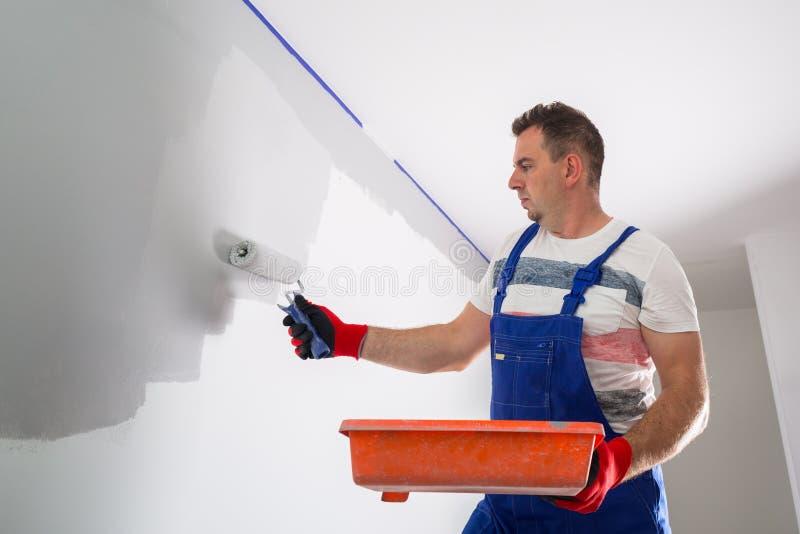Painter man at work royalty free stock photos