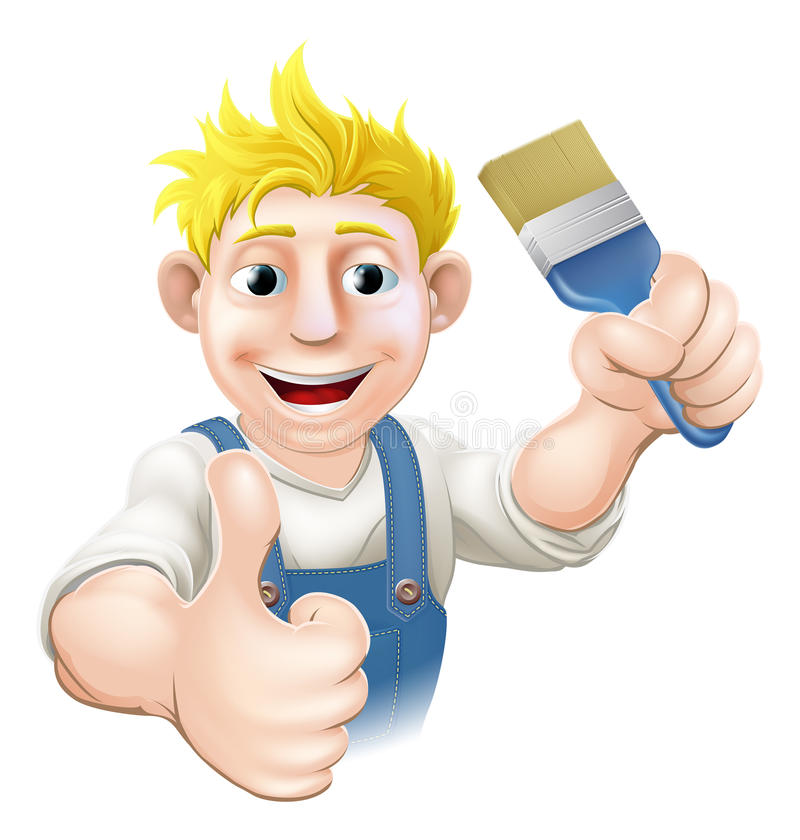 Download Painter with paintbrush stock vector. Image of painter - 32679968