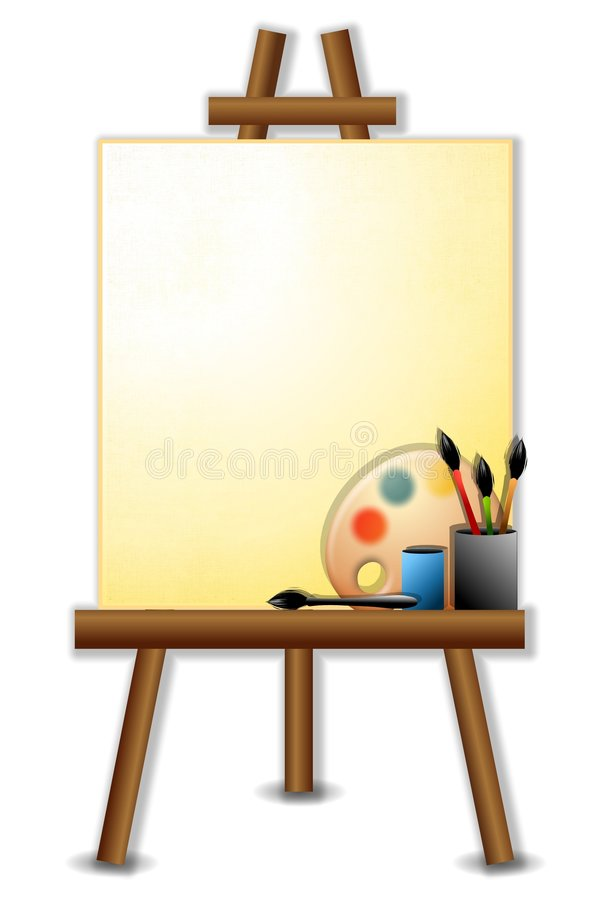 Free Painter S Canvas Easel Brushes Stock Image - 5343681