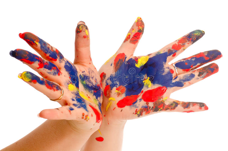 Painter's color hand stock photo