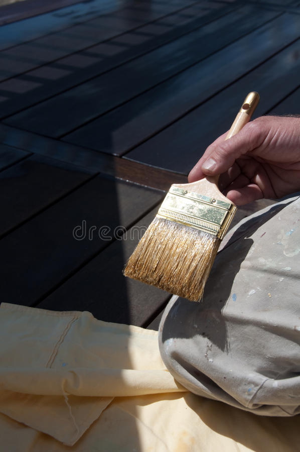 Free Painter S Holding Stain Brush On Deck Stock Photography - 19588582