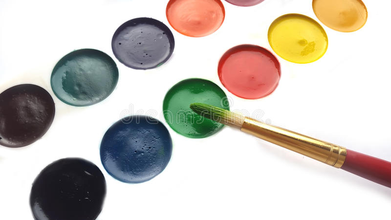Painter's palette and brush royalty free stock image