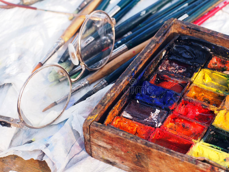The painter's workstation stock image