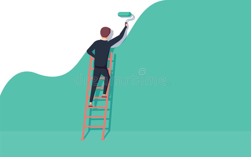 Painter standing on staircase paints the wall. Man is holding paint roller in hand. Vector illustration royalty free illustration