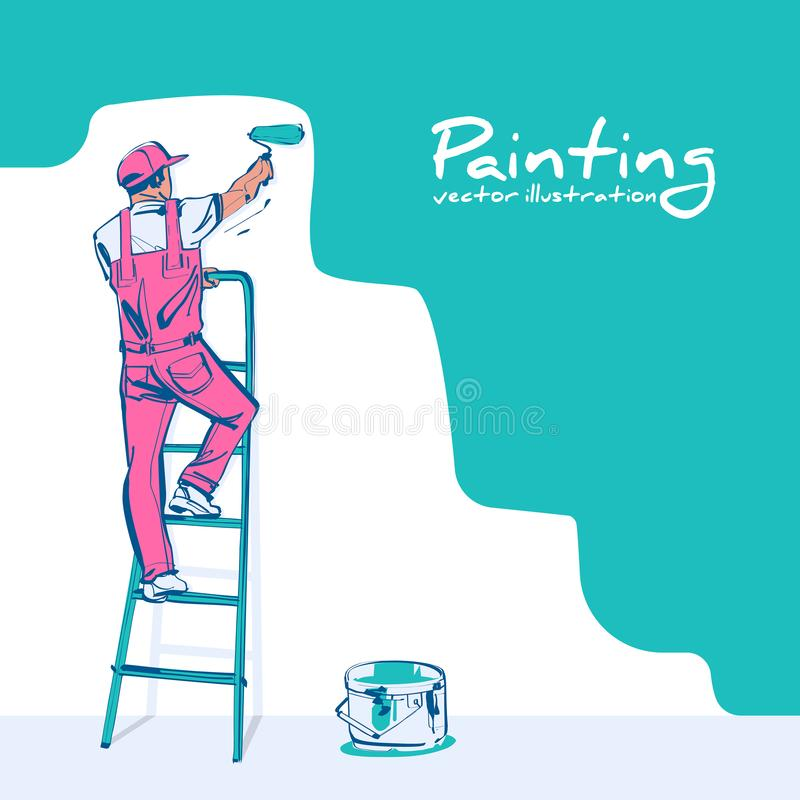 Painter standing on staircase paints wall vector sketch. Painter standing on staircase paints wall. Man is hold paint roller in hand. Vector sketch style royalty free illustration