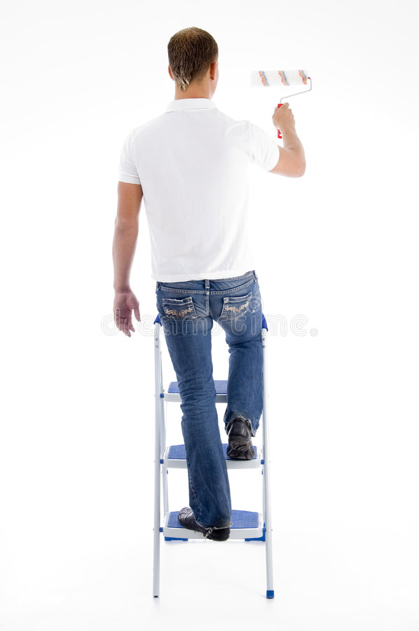 Painter Standing On Stairs Stock Photos