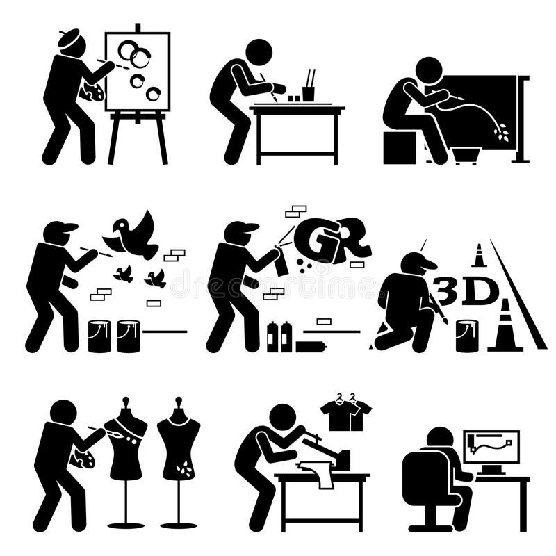 Painter Street Artist Graphic Designer Drawing Arts Stickman Clipart royalty free illustration