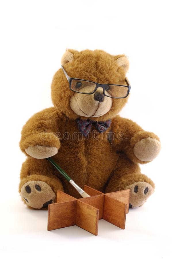 Painter teddy bear royalty free stock image