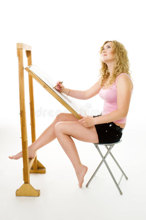 Download Painter Waiting For Inspiration Stock Image - Image: 9814709