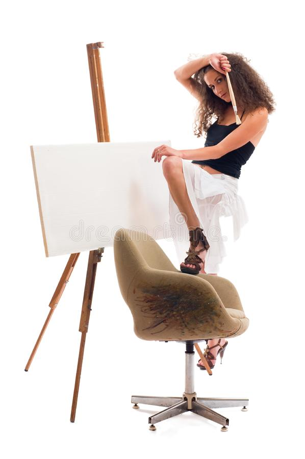 Download Painter woman stock photo. Image of artist, messy, splatter - 16459362