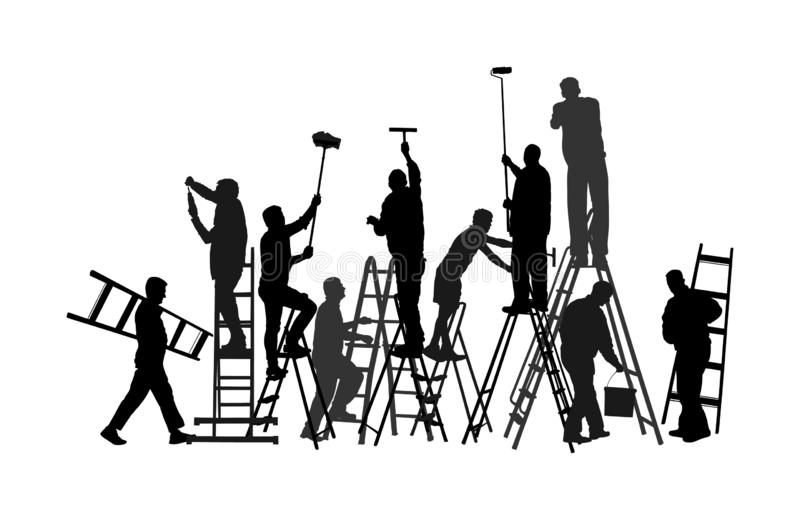 Painter workers on ladder vector silhouette isolated on white background. Man decorator painting wall with paint brush roller. Painter workers on ladder vector stock illustration