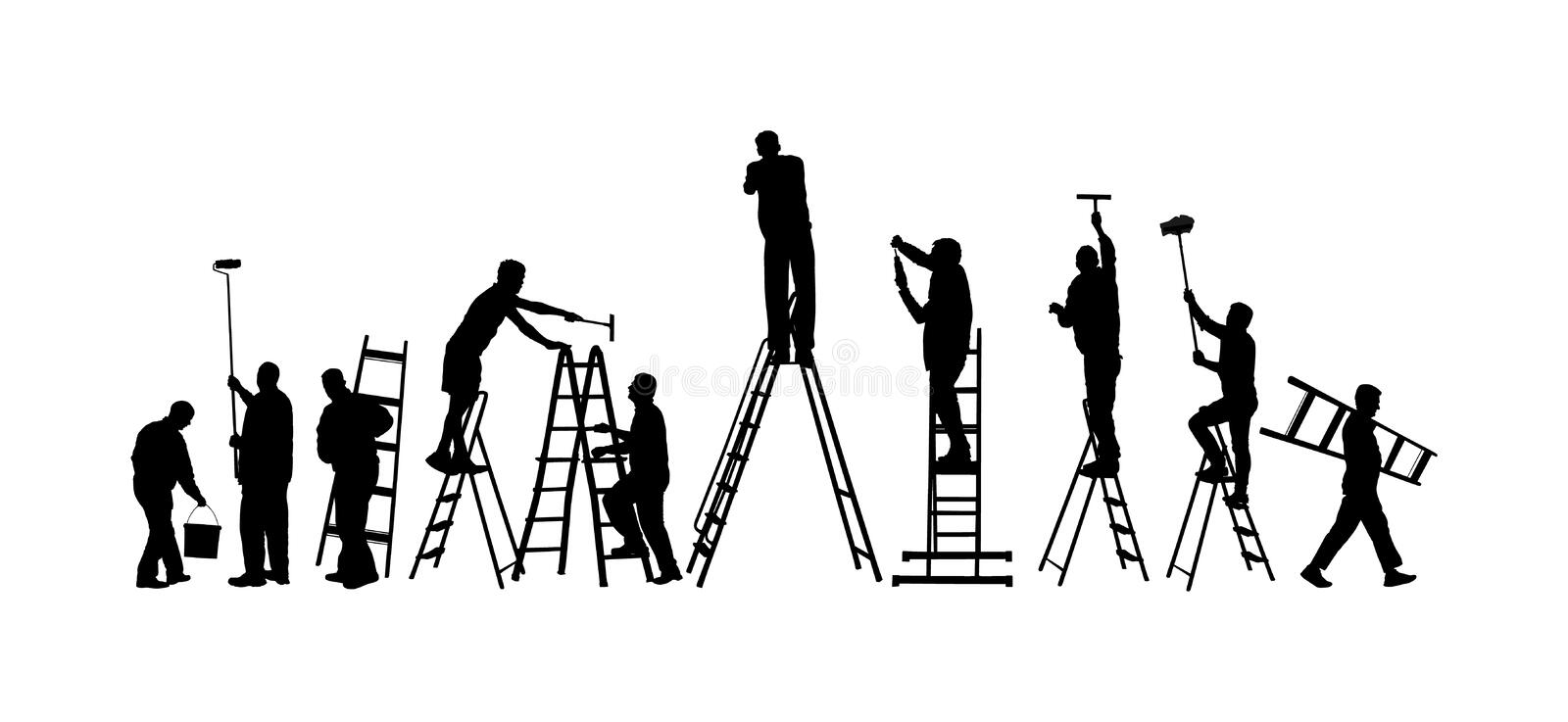 Painter workers on ladder vector silhouette isolated on white. Man decorator painting wall with paint brush roller Crew renovation. Painter workers on ladder stock illustration