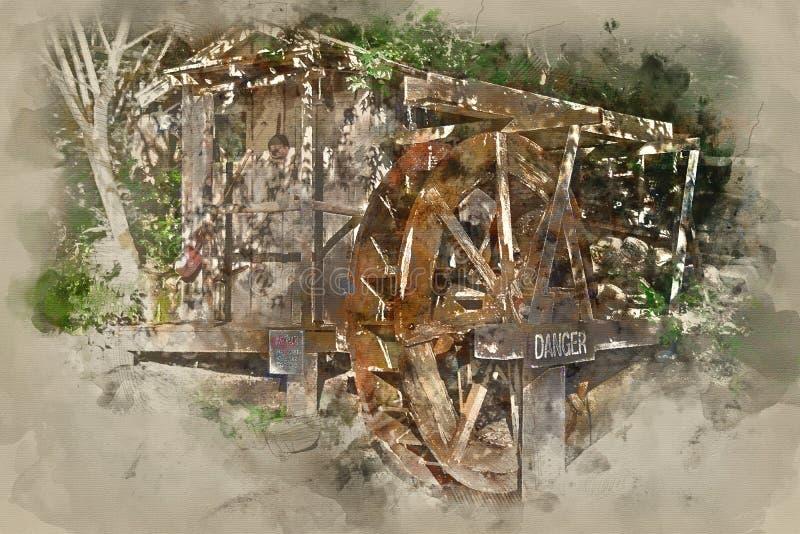Painterly преобразованное изображение колеса воды стоковое изображение