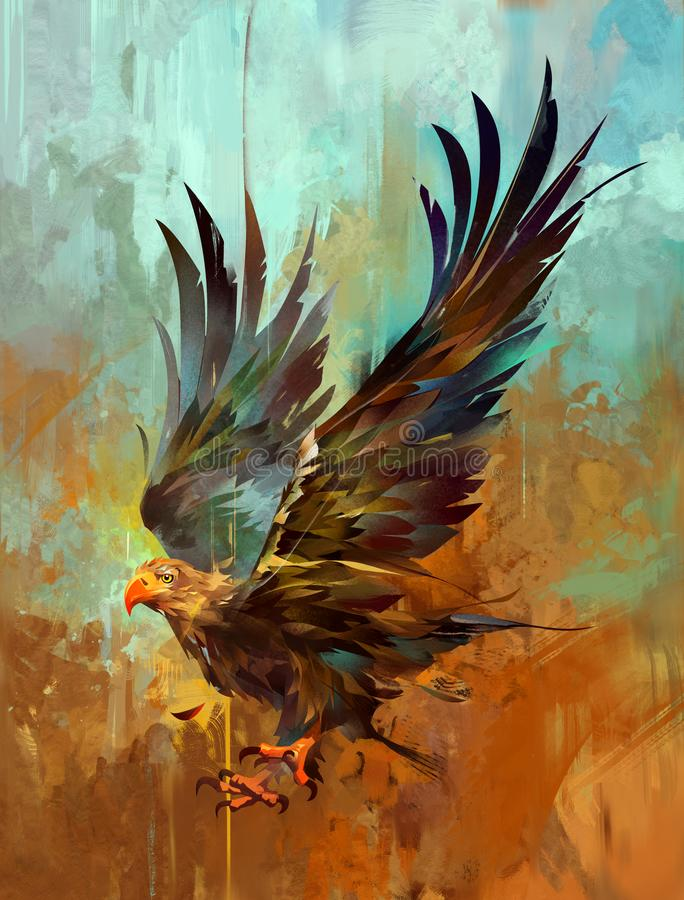 Painterly bright stylized eagle on a textured background stock photography