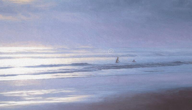 Painterly cienie Błękitni surfingowowie i morze fotografia stock