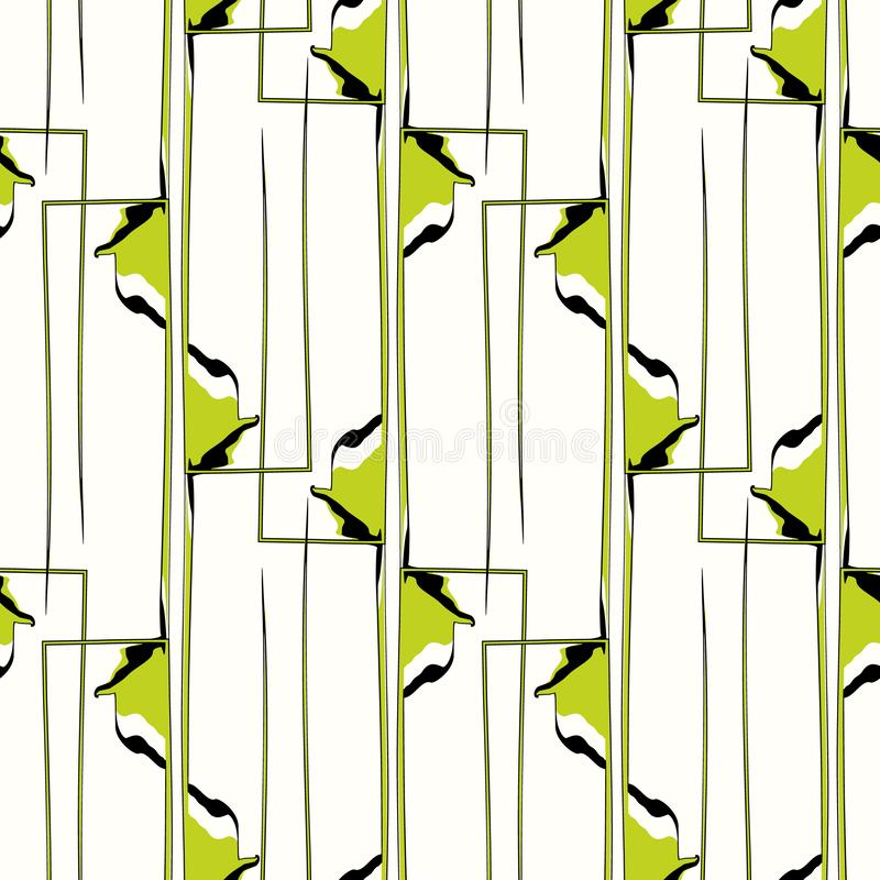 Painterly green and black abstract geometric interlaced rectangles fold effect design. Seamless vector pattern on light stock illustration