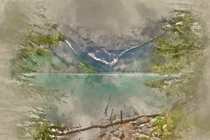 Painterly konverterad bild av det ursprungliga Laket Louise i Kanada arkivfoto