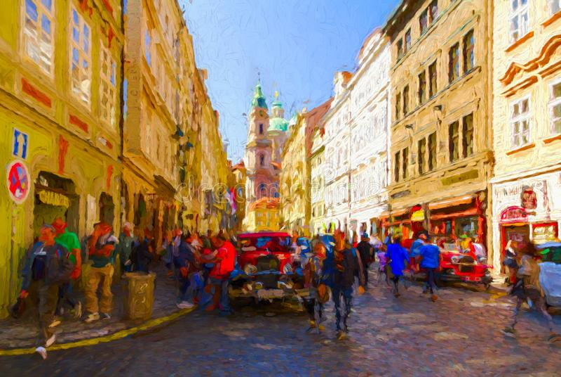 Painterly plats från Lesser Town i Prague royaltyfria bilder