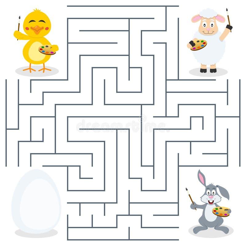 Painters & Easter Egg Maze for Kids vector illustration