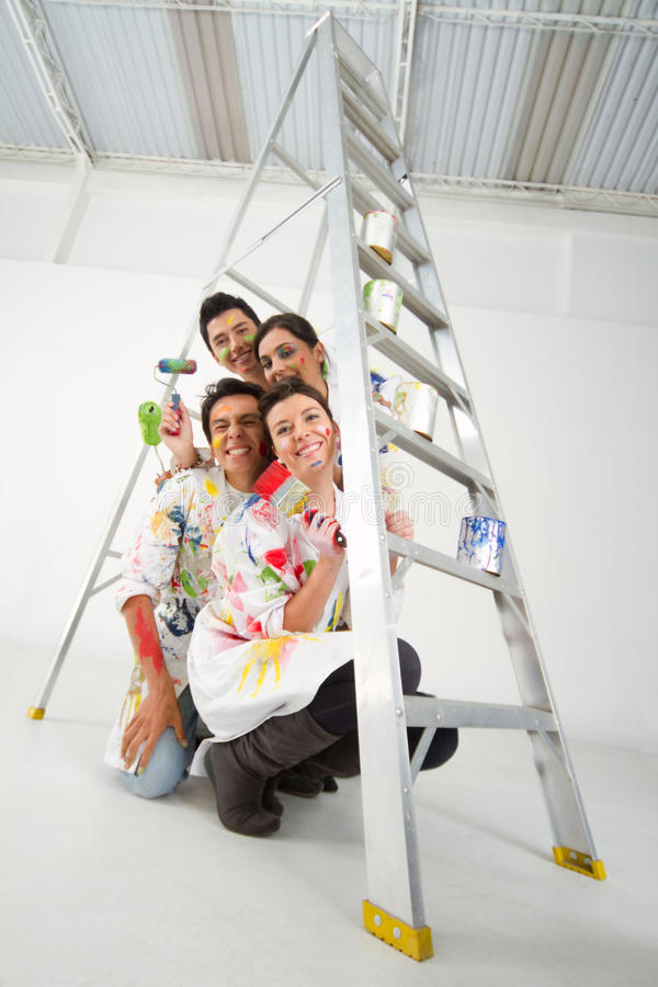 Download Painters with a ladder stock image. Image of group, male - 20862549