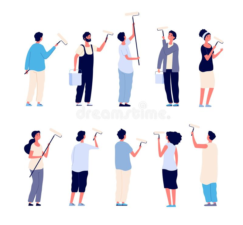 Painters. Men and women painter holding paint rollers and painting home wall. Vector cartoon isolated characters royalty free illustration