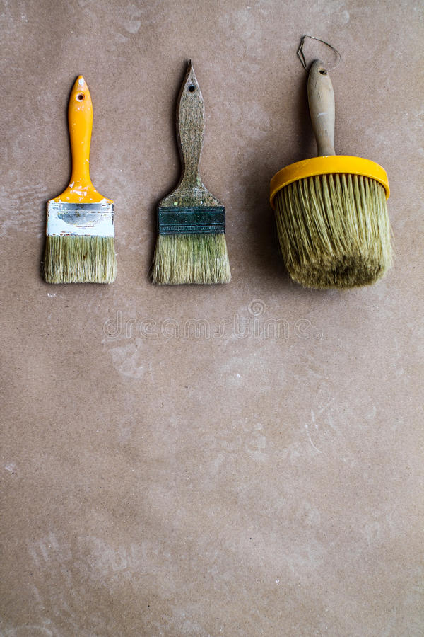 Paintig tools - brush - building industry - Background Brushes royalty free stock images