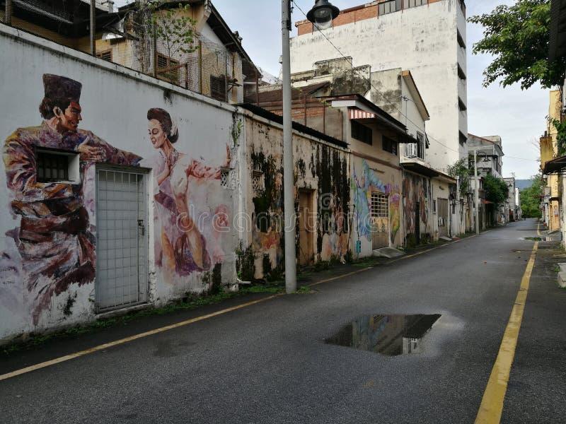 Paintin van de straatkunst in Ipoh, Maleisië royalty-vrije stock fotografie