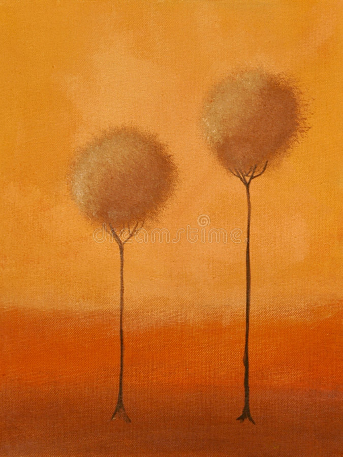 Download Painting of of 3 trees stock illustration. Illustration of bloom - 2823656