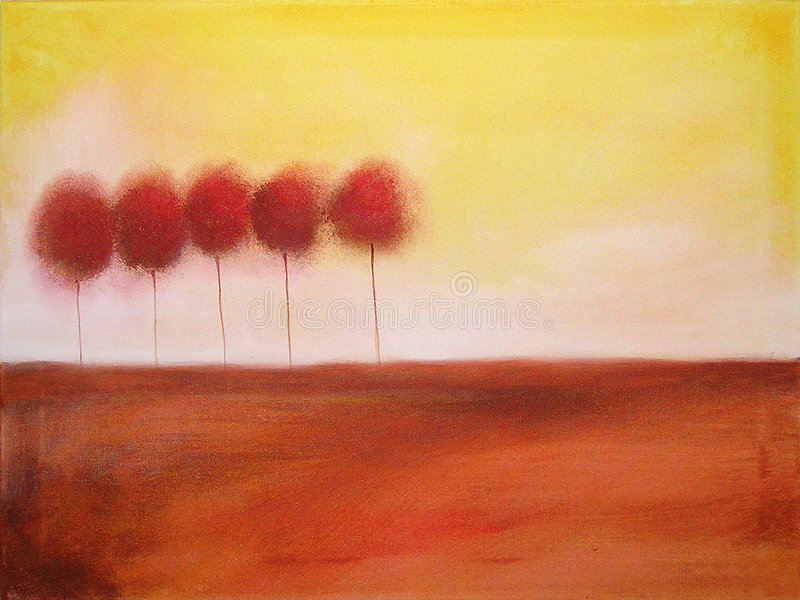 Painting of of 5 trees royalty free illustration