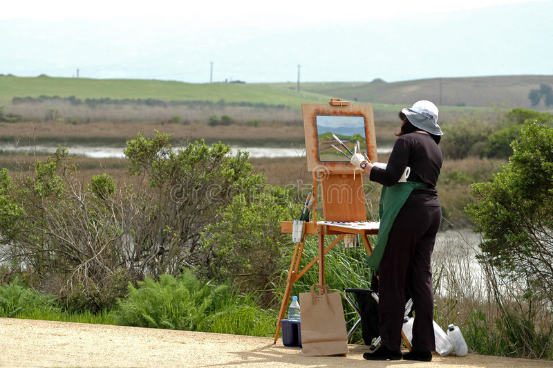 Painting. The wetlands, Baylands Nature Preserve, Palo Alto, California stock image