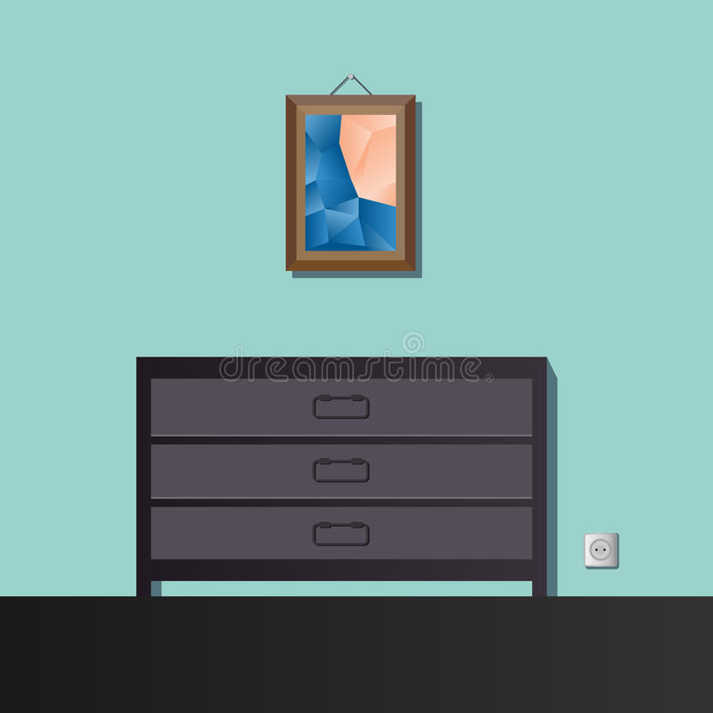 The painting above the dresser royalty free illustration