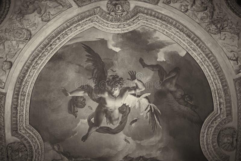Painting. Angels painting dome France Paris Louve stock photos
