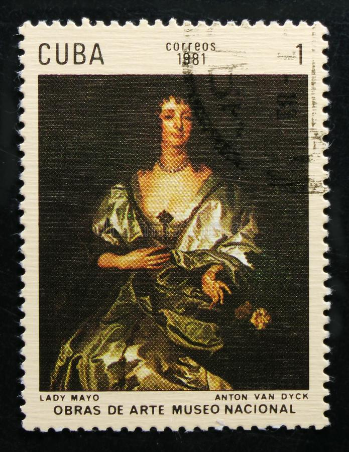 Painting by Anthony van Dyck `Lady Mayo`, Paintings in the National Museum serie, circa 1981. MOSCOW, RUSSIA - OCTOBER 1, 2017: A stamp printed in Cuba shows stock photography