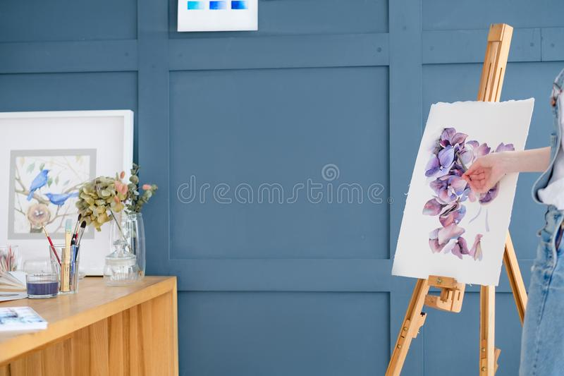 Painting art class teacher watercolor drawing. Painting art classes. teacher explaining. inspiration imagination self expression concept stock image