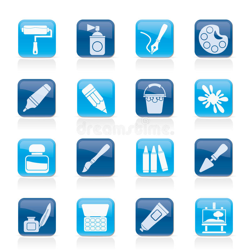 Painting and art object icons royalty free illustration