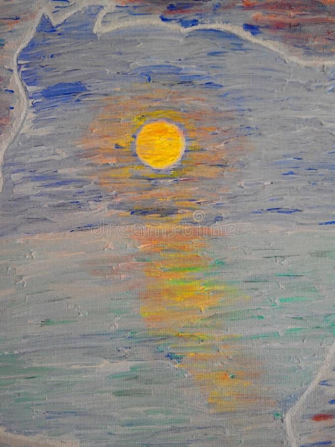 Painting art texture - Sun goes down the ocean. Acrylic painting texture - part of a painting stock photos