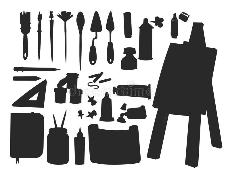 Painting art tools palette vector silhouette illustration details stationery creative paint equipment creativity artist vector illustration