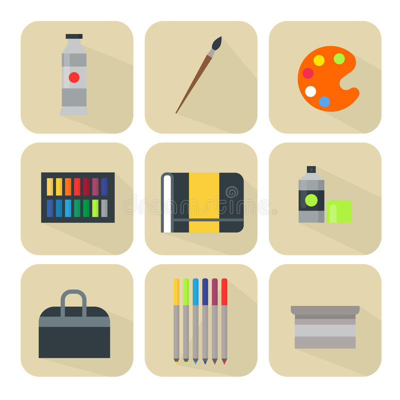 Painting art tools palette icon set flat vector illustration details stationery creative paint equipment. vector illustration