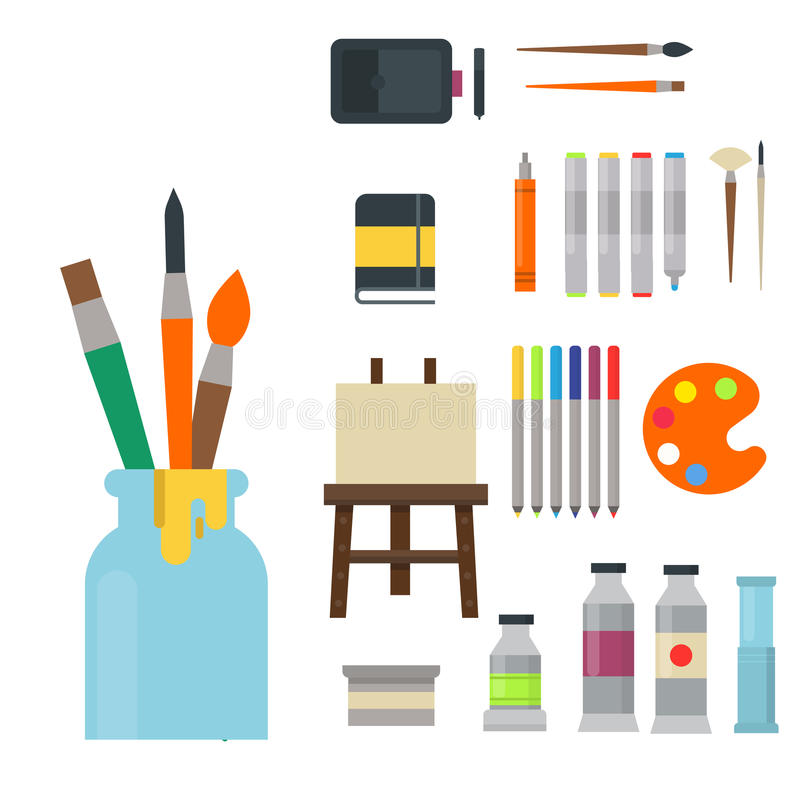creative furniture icons set flat design. Creative Furniture Icons Set Flat Design. Download Painting Art Tools  Palette Icon Vector Design