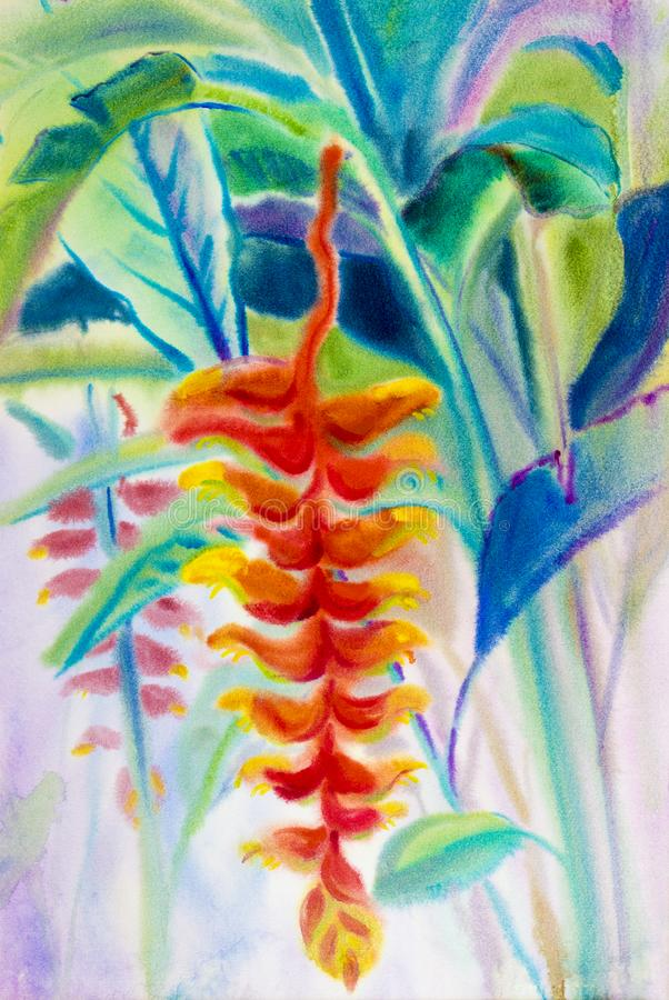 Painting art watercolor landscape original red, orange, yellow color of the Heliconia flower. And emotion beauty in nature spring season or green leaf stock illustration