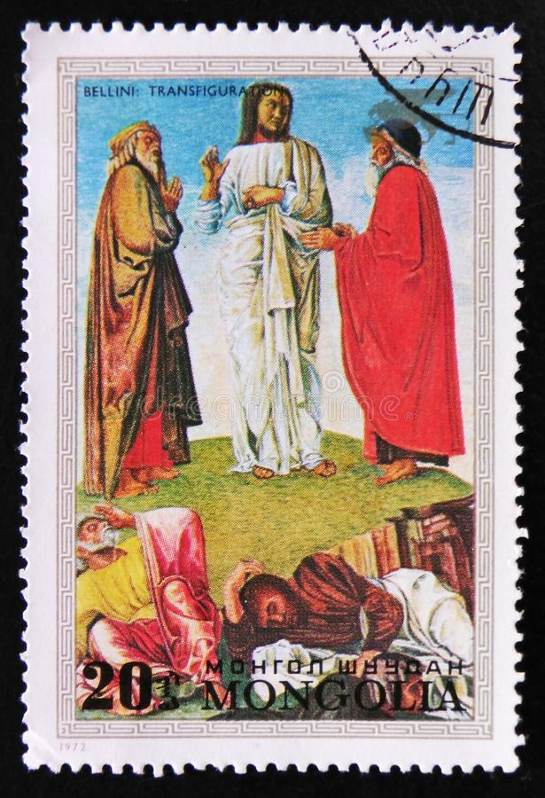 Painting by the artist Bellini `Transfiguration`, circa 1972. MOSCOW, RUSSIA - APRIL 2, 2017: A post stamp printed in Mongolia shows a painting by the artist stock photos