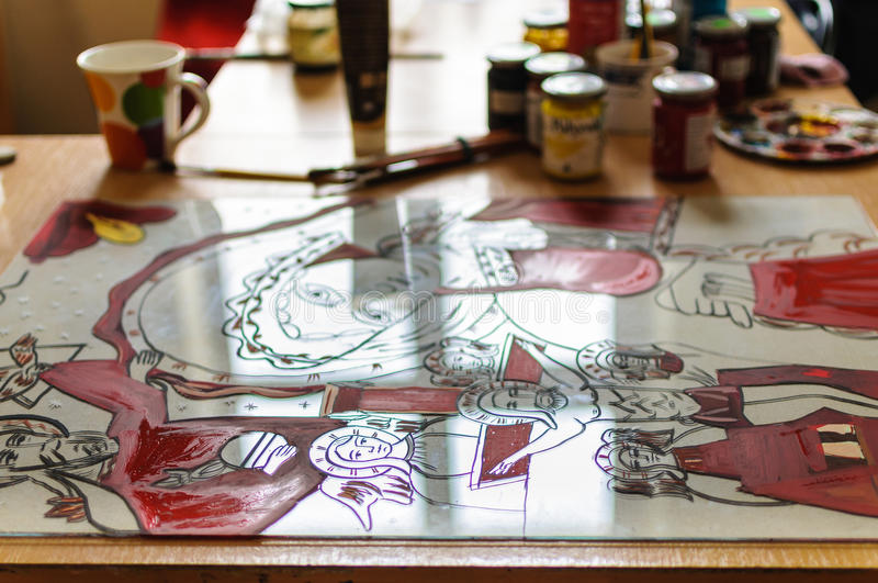 Download Painting Atelier Saints Glass Stock Photo - Image: 39243188