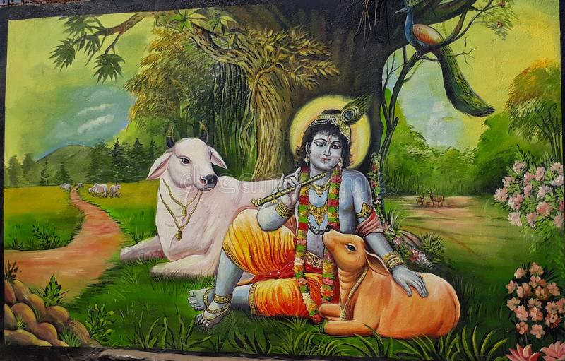 Painting. A beautiful painting of lord krishna stock photography