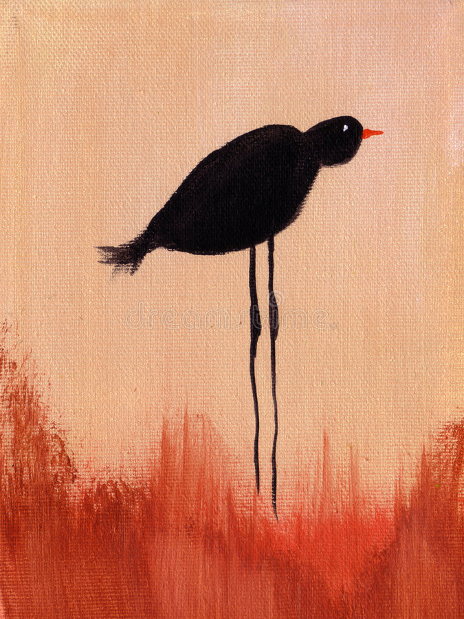 Painting of a of bird. stock photo