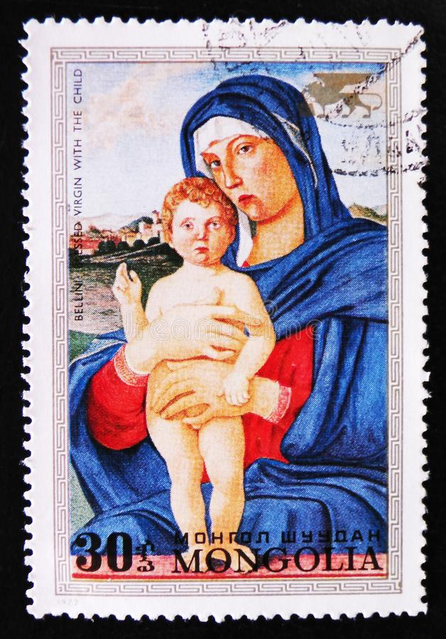 Painting `Blessed Virgin with the child` by Bellini, circa 1972. MOSCOW, RUSSIA - APRIL 2, 2017: A post stamp printed in Mongolia shows painting `Blessed Virgin royalty free stock photos