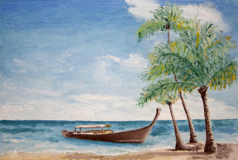 Painting of boat and palm trees. Oil painting of gondola style boat with canopy in the sea anchored just off a sandy shore with palm trees close by, background royalty free stock photography