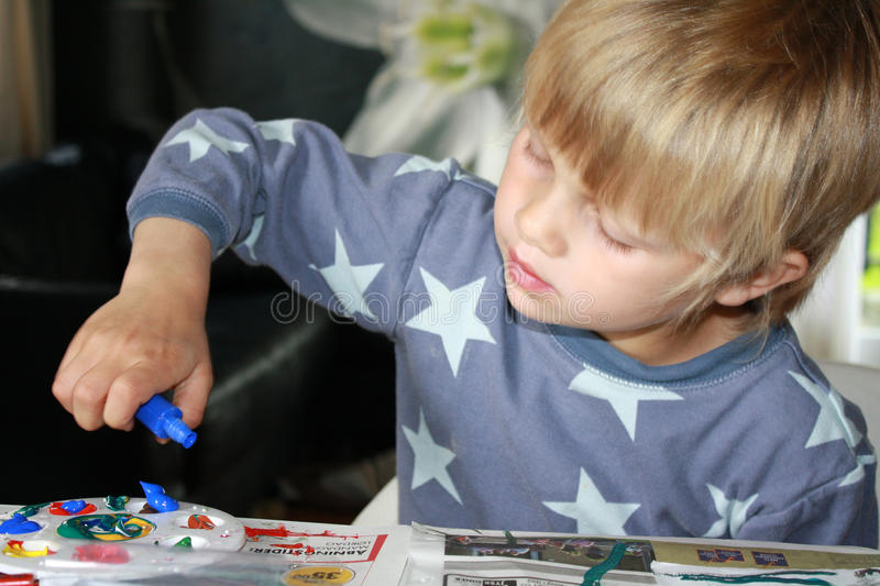 Download Painting boy stock image. Image of candid, cute, concentration - 14876987