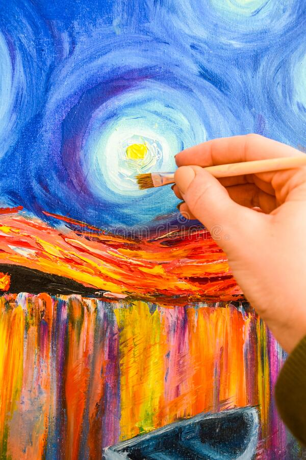 Free Painting Brush, Hand And Oil Canvas, Artist`s Hand, Acrylic And Full Spectrum On Cardboard, Van Gogh The Starry Night Royalty Free Stock Photos - 176021468